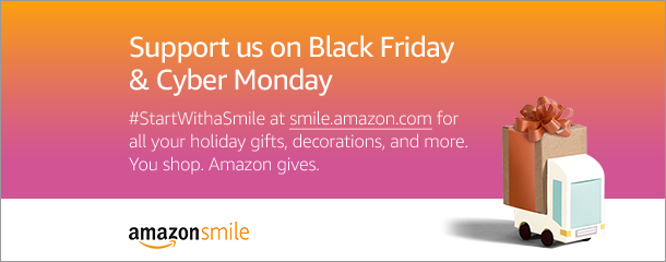 Support Us on Black Friday picture with link to Amazon Smile